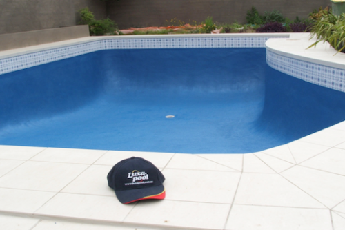 cap 5 - old pebble line pool brought back to life with Epoxy Resin coating and new deck paving