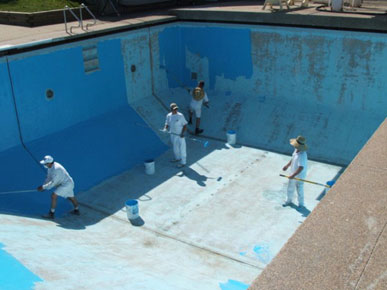 Pool painting gallery poolpainters for How deep is a olympic swimming pool