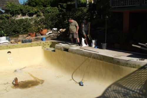 1b - pool renovation. pool painting