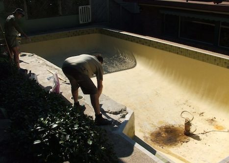 1f - pool renovation. pool painting