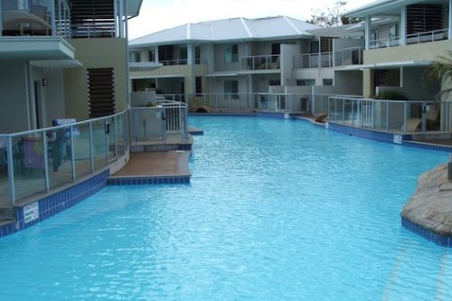 7d commercial pool - Quest apartments, Cronulla, NSW - rooftop pool painting using Luxapool (Pacific Blue)